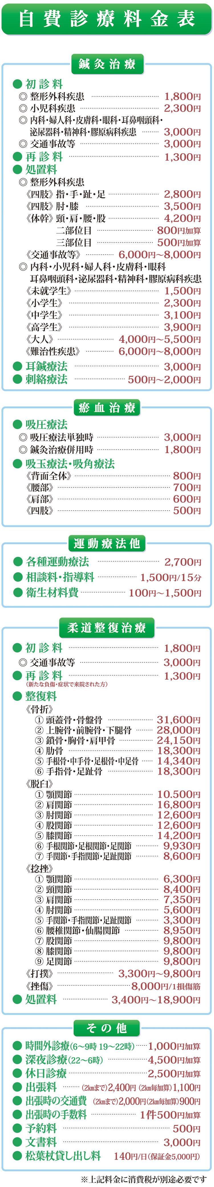 自費診療料金表
